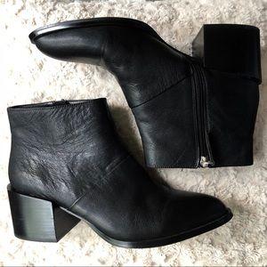 NINE WEST Black Leather Chunky Block Heel Booties